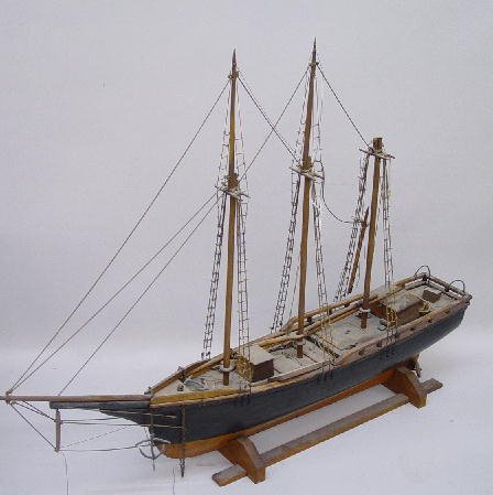 948: LARGE WOODEN SAILING SHIP MODEL. Three-m
