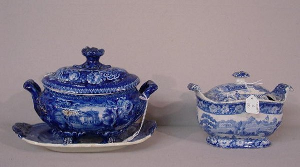 6: TWO HISTORICAL BLUE STAFFORDSHIRE TUREENS.