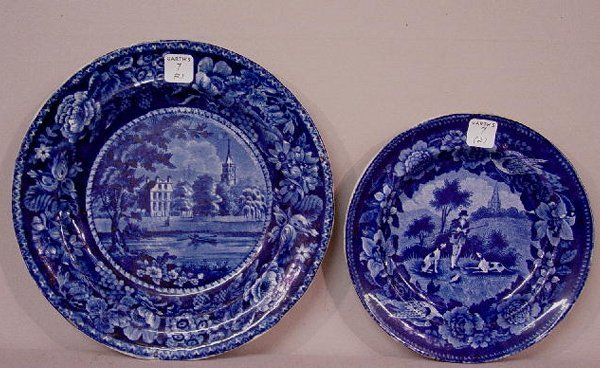 7: TWO HISTORICAL BLUE STAFFORDSHIRE PLATES.