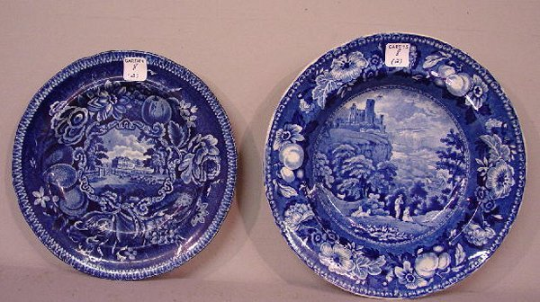 8: TWO HISTORICAL BLUE STAFFORDSHIRE PLATES.