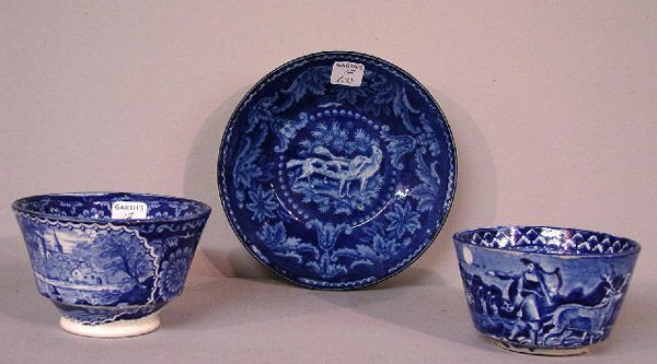 12: THREE PIECES OF BLUE STAFFORDSHIRE. Two h