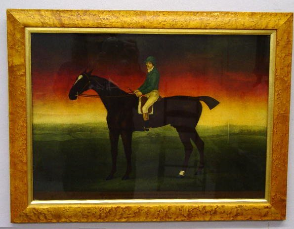 13: FRAMED ENGLISH PRINT. Features a horse an