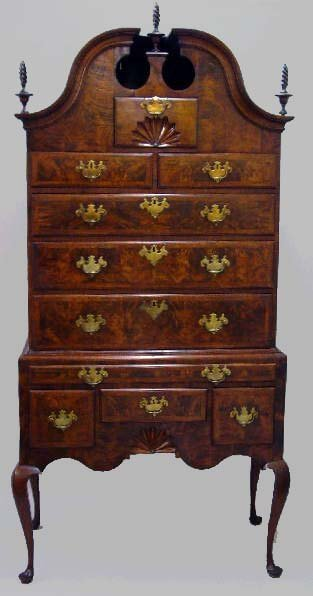 99: QUEEN ANNE HIGHBOY WITH BONNET TOP. 18th