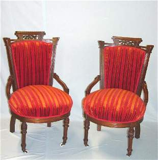 FOUR EASTLAKE SIDE CHAIRS. Walnut with car
