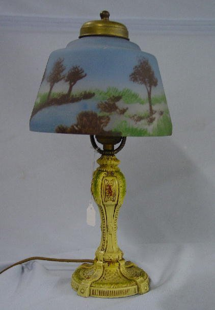 10: TWO BOUDOIR LAMPS WITH REVERSE PAINTED SH