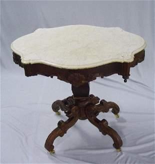 MAHOGANY TURTLE TOP TABLE. Beveled white
