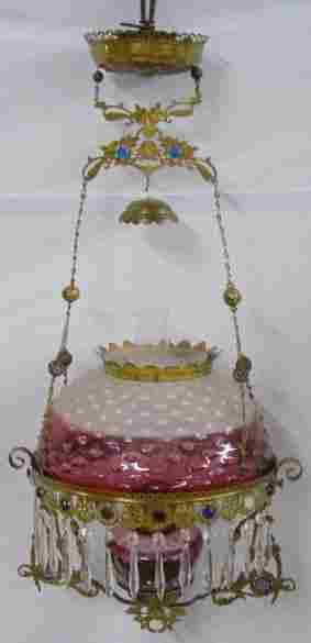 HANGING LAMP. Frosted rubina hobnail shad