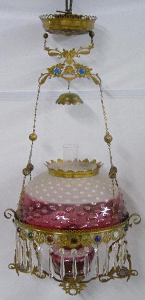 14: HANGING LAMP. Frosted rubina hobnail shad