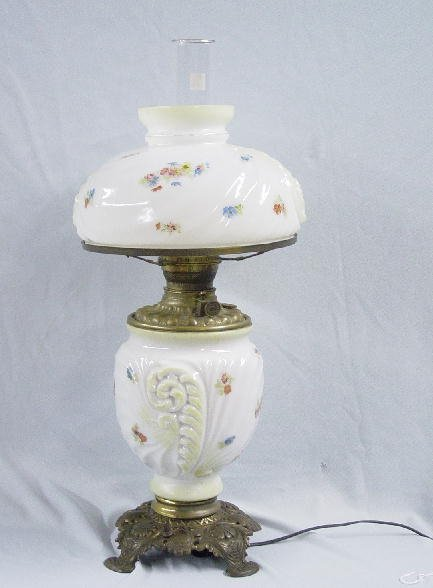 21: TABLE LAMP. Opaque white glass base and m