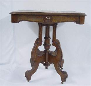 VICTORIAN GAME TABLE. Walnut and cherry w
