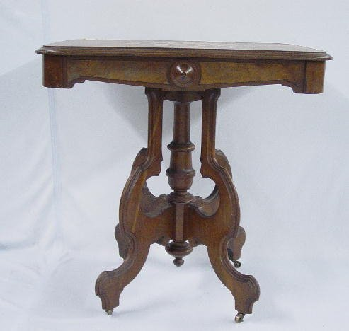 22: VICTORIAN GAME TABLE. Walnut and cherry w
