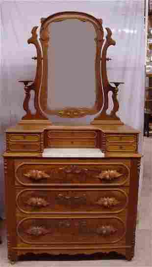 VICTORIAN CHEST WITH MIRROR AND GLOVE DRA