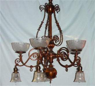 53: GAS CHANDELIER. Bronze patina. Five arms