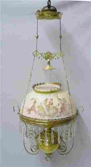 HANGING LAMP. Opaque shade with yellow