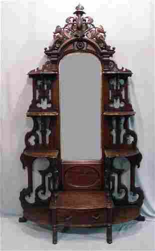 VICTORIAN MIRRORED ETAGERE. Rosewood wi