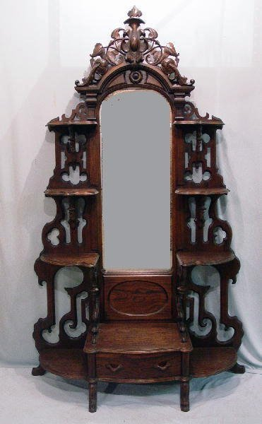 1005: VICTORIAN MIRRORED ETAGERE. Rosewood wi