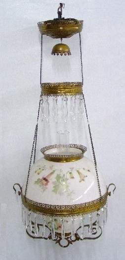 BRADLEY & HUBBARD HANGING LAMP. Opaque