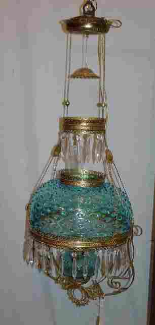 HANGING LAMP. Electric blue hobnail sha
