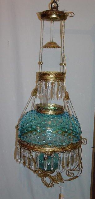 1012: HANGING LAMP. Electric blue hobnail sha