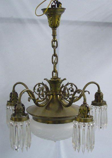 1016: CHANDELIER. Frosted cut to clear dome,