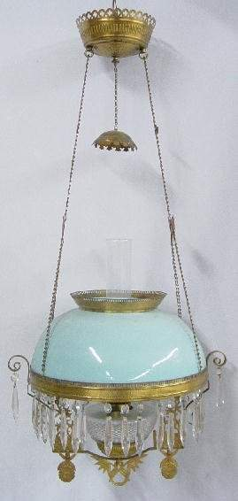 HANGING LAMP. Opaque robin's egg blue s