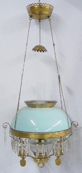 1021: HANGING LAMP. Opaque robin's egg blue s
