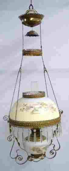 HANGING LAMP. Opaque shade with blue to