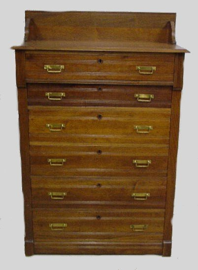 1023: VICTORIAN HIGH CHEST. Walnut with a gal