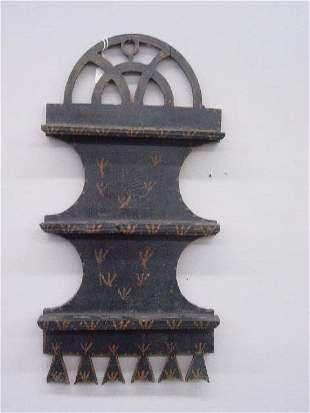 DECORATED HANGING SPOON RACK. Butternut or