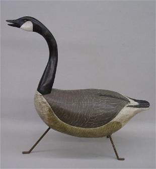 LARGE WELL-CARVED CANADA GOOSE DECOY. Old