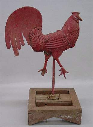ROOSTER WEATHERVANE FIGURE ON BASE. Two-pi