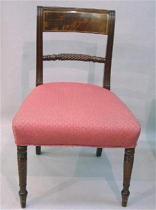 SET OF SIX SHERATON CHAIRS. One armchair a