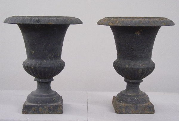 14: PAIR OF SMALL CAST IRON GARDEN URNS. Old