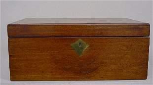 ENGLISH LAP DESK. Dovetailed mahogany cas