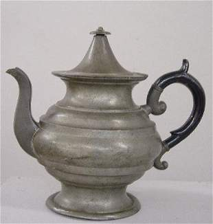 """PEWTER TEAPOT. """"L. J. Curtiss"""" touchmark"""
