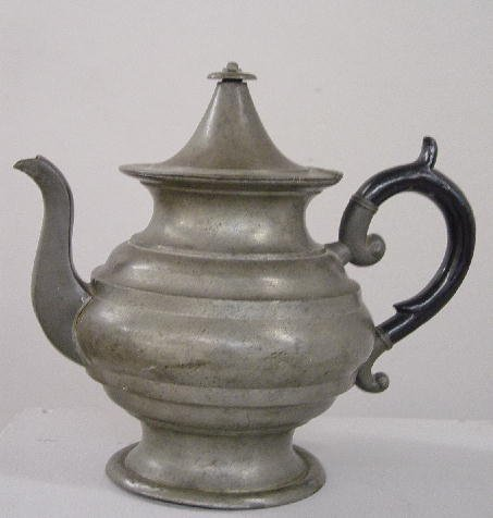 "18: PEWTER TEAPOT. ""L. J. Curtiss"" touchmark"
