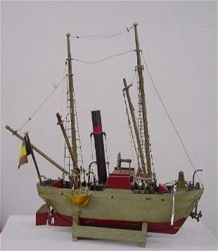 FOLK ART SHIP MODEL OF A TRAWLER. Old gre