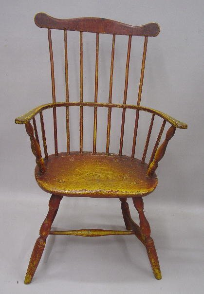 113: FINE COMB BACK WINDSOR ARMCHAIR. Old wor