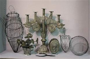 SEVEN TIN AND WIRE ITEMS. Pictured are a