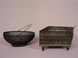 TWO PIECES OF KITCHENWARE. Fine wire mes