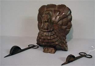 THREE PIECES: Primitive carved turkey (p