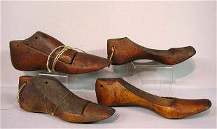 FOUR WOODEN SHAKER SHOE LASTS. Two have