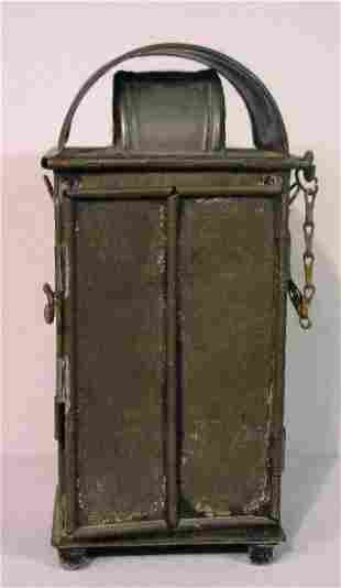 TIN CANDLE LANTERN. Nice form with a dou