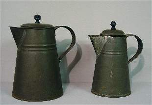 TWO SIMILAR TIN COFFEE POTS. Tapered for