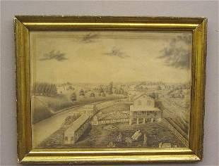 FRAMED PENCIL DRAWING OF A FARM SCENE.