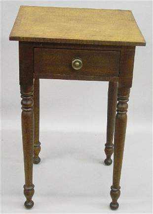 COUNTRY SHERATON ONE-DRAWER STAND. Curly