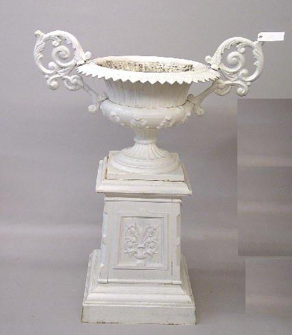 394: CAST IRON GARDEN URN. White painted fini
