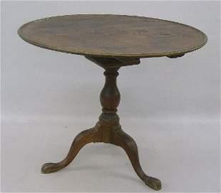 CHIPPENDALE TILT TOP TEA TABLE. Walnut w