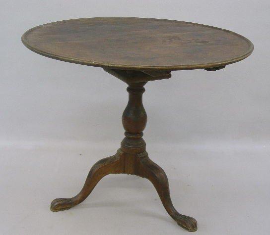 395: CHIPPENDALE TILT TOP TEA TABLE. Walnut w