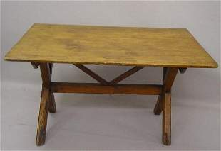 PRIMITIVE SAWBUCK TABLE. Pine with old r